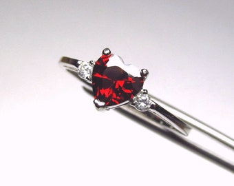 CLEARANCE  Garnet Red CZ Heart in an Accented Sterling Silver Ring