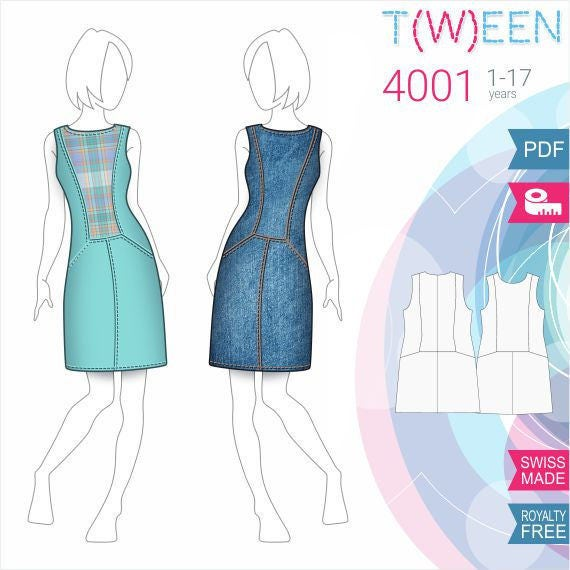 T4001 Girls Dress Sewing Pattern PDF Download, 1-7 years, Free Made ...