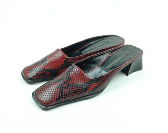 Vintage Leather Alberto Gozzi Mules High Heels - Red And Black - Made In Italy - Size 8 N