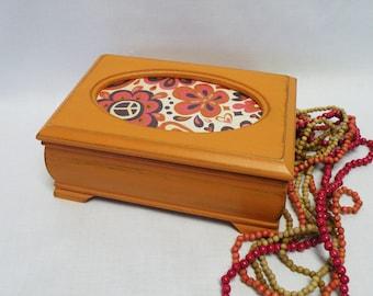 Teen Girls Jewelry Box - Retro, Shabby Chic Jewelry Box - Orange, Tangerine - Gift - Upcycled Vintage - Ring Box - Trinket Box