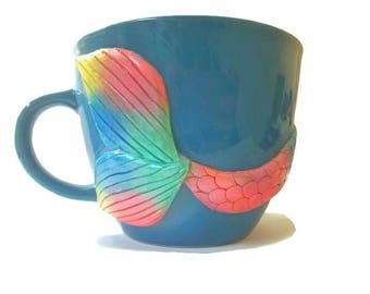 Mermaid Tail Mug, Blue Mermaid Mug, Turquoise Mug, Mermaid Decor, Girlfriend Gift, Wife Gift, Mermaid Coffee Mug, Rainbow Mug, Mermaid Gift