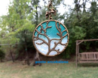 Personalized Tree of Life Necklace charm and polymer clay- customize/ jewelry for her/ gift/ bronze