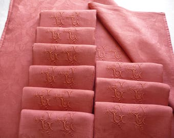 linen dinner napkins 10  french linen Large napkins/ French linen napkins/ large table napkins /TERRACOTTA  napkins/ monogrammed napkins