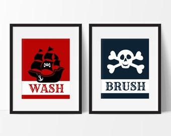 Pirate Bathroom Decor, Kids Bathroom Decor, Skull and Crossbones Print