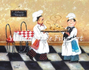 Fat Chefs Art Print, pasta chefs, chef paintings, two spaghetti chefs wall art, whimsical kitchen art, Vickie Wade Art