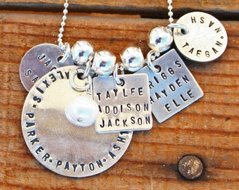 Custom Family keepsake, sterling silver, 5 tag necklace with one charm