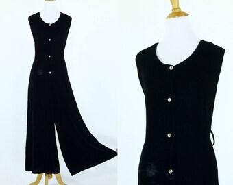 Vintage 1960s Jumpsuit | 60s Black Velvet Wide Leg Jumpsuit | L XL