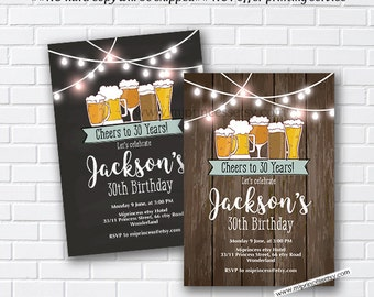 Beer birthday,  invitation, beer party, cheers and beers, invitation, rustic invite, chalkboard invite, adult party, men, women - card 1006