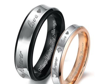 Engraved Ring, Personalized Ring, Couples Ring Set, Gold & Black Forever Love Ring Set, His And Hers Ring Set, Custom Ring Set, Promise Ring