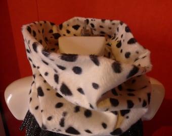 scarf, snood, neck faux fur Dalmatian