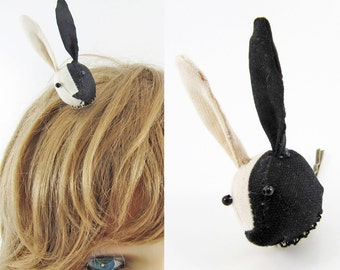 MADE-TO-ORDER ( 1 - 2 Weeks)-Bunny Hair Clip-Black & Unbleached Half