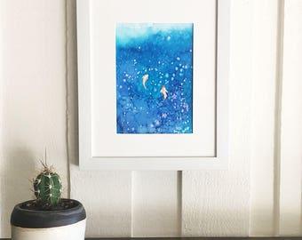 Original Watercolor Painting Koi Fish