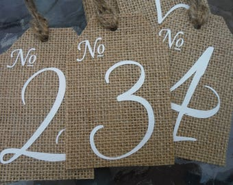 SET of Burlap Table Numbers, Rustic wedding decorations, Wedding Table Numbers,