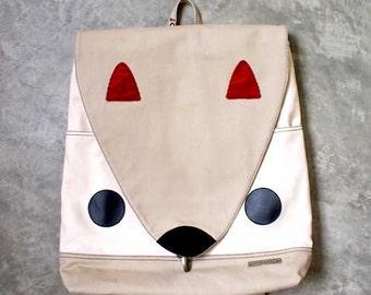 CLEARANCE SALE Squirrel Backpack Padded Laptop Bag Cute Diaper Backpack Travelling Vegan Fabric Backpack Women Men Teen Backpack Beige Cream