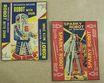 retro robot patch set vintage 1950's tin toy art outer space kitsch sew on patch