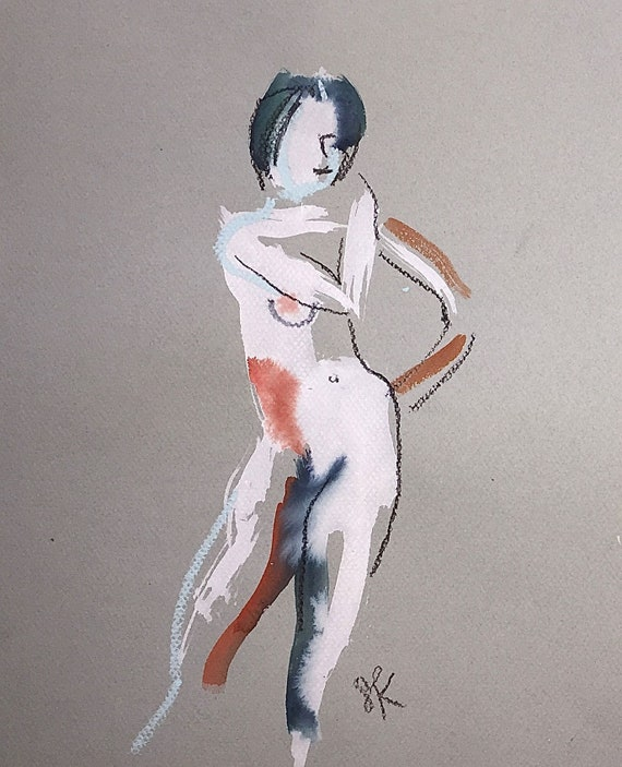 Nude painting of One minute pose 112.6 ,nude art, original, gesture sketch by Gretchen Kelly