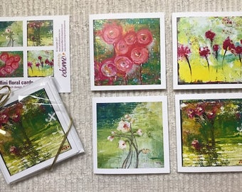 Mini Floral note cards blank inside