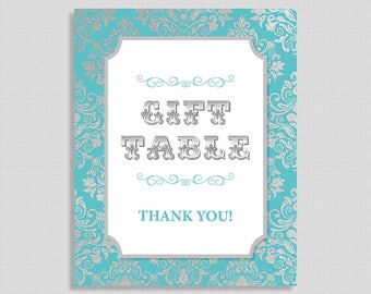 Gift Table Shower Table Sign, Teal & Silver Damask Baby Shower Sign,  Baby Boy, INSTANT PRINTABLE