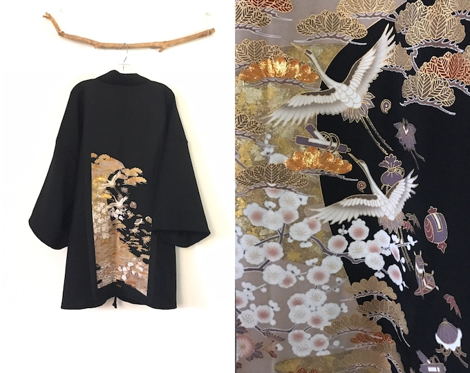 Collectable black crepe wool haori inspired jacket with gold clouds and  flying cranes kimono silk panel/ free size / wearable art