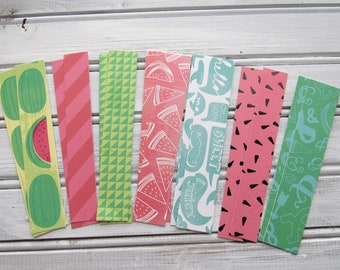 Watermelon Stickers, Summer Stickers, Envelope Seals, Paper Tape, Planner Stickers, Paper Washi Tape