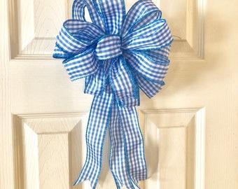 Blue Gingham Wreath Bow - Blue White Check Decor - Lantern, Bannister, Party Decoration