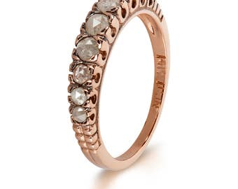 Diamond Stacking Band - Engagement Ring - Handmade Ring- Rose Gold - Vintage Style Ring - Wedding Ring - Diamond Band - Gift for Her