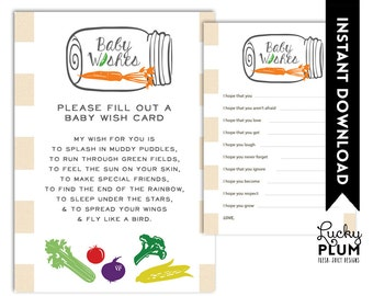 Locally Grown Baby Wishes / Farmer's Market Baby Wishes / Fruit Vegetable Baby Wishes / DIY Printable /  *Digital file*