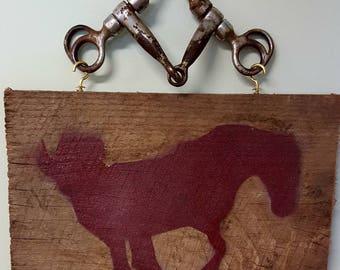 Vintage Barn Wood siding rustic horse sign, vintage horse bit, horse quote wood sign, wood horse sign, rustic, Western, horse sign, original