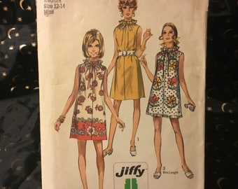 Vintage 1970s  simplicity pattern 8793 - size 12-14- Simple-to-Sew Misses Muu Muu or dress in two lengths. 2 pieces.A cute dress to make.