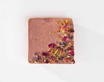 Pink Wildflower Bar Soap / Vegan Soap / Natural Soap / Flower Soap / Petal Soap / Bar Soap / Handmade Soap / Facial Soap