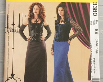 Mccalls Costumes 3380 Medievil Gothic Sewing Pattern Size 14  16  18  20  Plus Size UNCUT