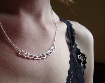 In stock- sterling silver lace necklace with wide scallop edge