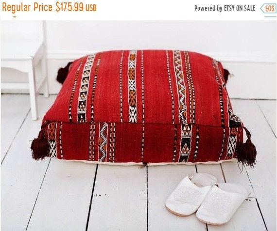 Pouf Sale 30% Off// Red Kilim Moroccan Floor Cushio -home gifts, wedding gifts, anniversary gifts, pouf