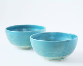 Only 1 left! Ceramic Stoneware Bowls Blue Green