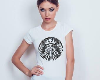 Distressed Starbucks Skeleton - White T-shirt - Womens - XS - S - M - L - XL - XXL