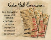 Victorian Birth Announcement Library Cards ~ Printable Set 3 Personalized 3X5s ~ Cherub Baby Shower Birth, Date, Weight ~ Vintage Book Check