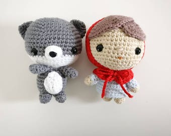 Cute Red Riding Hood and Wolf Amigurumi- Pair