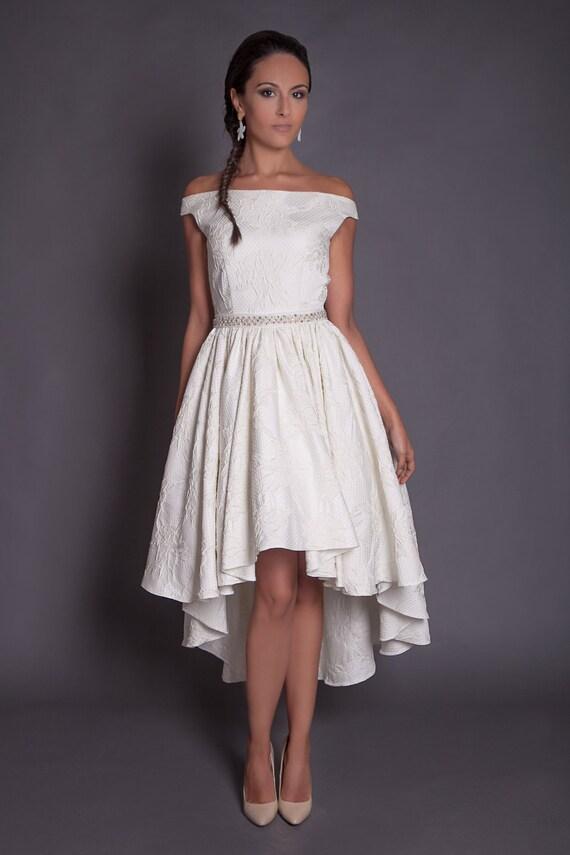50s high low wedding dress in jacquard ivory hi lo wedding