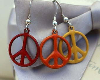 Peace sign earrings - Enameled in many color options - with Sterling Silver earwires