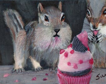 original art  aceo drawing chipmunk squirrel eating pink cupcake
