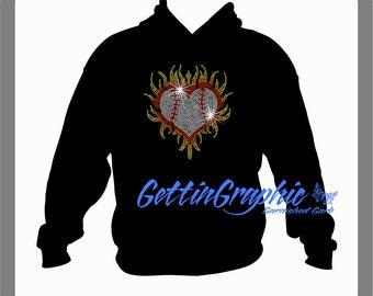 Baseball flaming heart rhinestone hoodie.