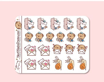 21 Stickers (Mini) - Happy Mail Stickers, Snail Mail Sticker, Package Delivery, Cute Kawaii Cat Pug - NextWeeksDream DMS04