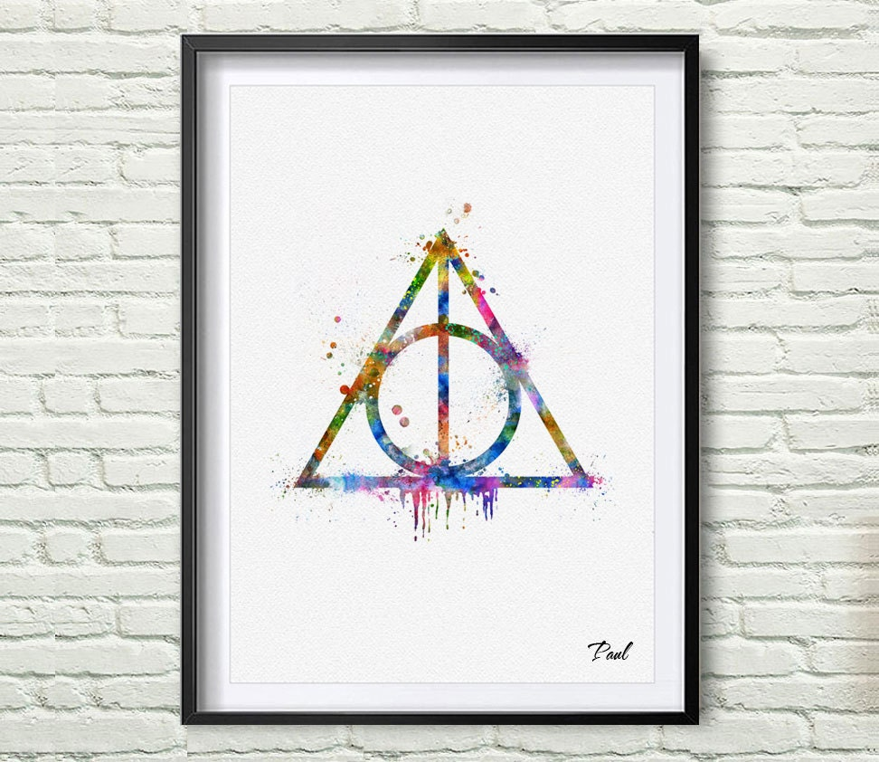 The deathly hallows art print watercolor wall art wall zoom biocorpaavc