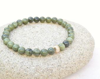Jade bracelet, Olive green bracelet, Jade jewelry, Stretch bracelet, Gold tone bracelet, Layering bracelet, Gift for her, Jade beads