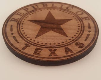 Set of 4 Texas themed set of coasters with holder - made from Walnut