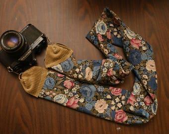 Floral Blue Camera Strap \\ Vintage Material