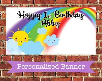 "18""x36"" Rainbow Personalized Party Banner 