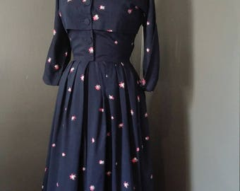 1950s Ladies Luncheon Frock Atomic Novelty Print WASP-Waist Faux Cropped Bust Hourglass