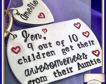 Personalised Auntie Gift - Personalised Auntie Keyring - 9 Out Of 10 Children Get Their Awesomeness From Their Auntie - Personalised Wording