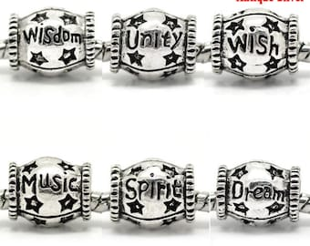 Euro Style Antique Silver Message Charm Beads (B460y)